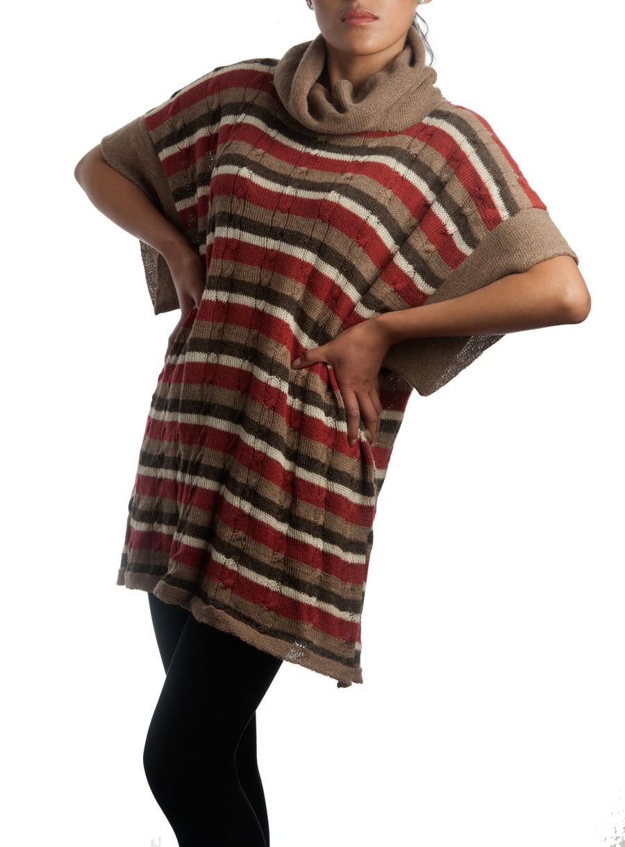 Poncho à rayures automnale - 100% laine d alpaga - caserita 59ecf3cbeffb